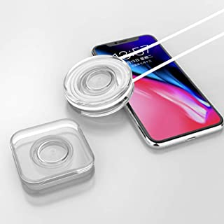 2PCS Nano Magic Sticker Phone Holder PU Material Nano Casual Paste Sticker Phone Holder for Car Home Office (White, Square+Round)