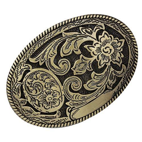 Baoblaze Hebilla de Cinturón Floral Occidental de Bronce Antiguo Indio Accesorios de Traje de Vaquero - A, tal como se describe