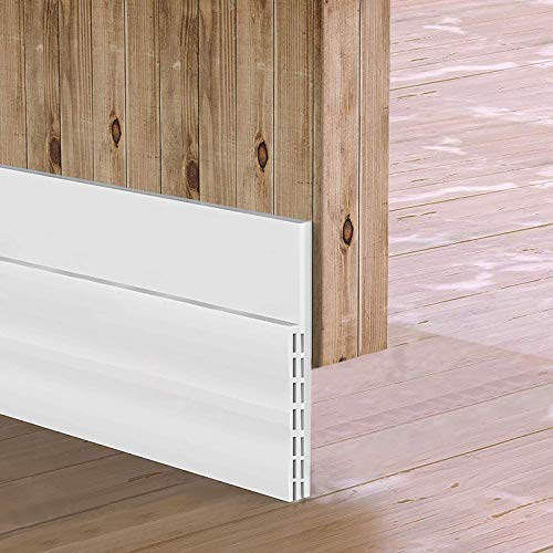 """[New Upgrade] Huge Gap Door Draft Stopper, 3-2/5""""W Widened Door Sweep Seal Gap Up to 1-4/5"""" for Interior & Exterior Doors - Keeping Draft, Noise, Dust and Unwanted Animals Out,3-2/5""""W x 39""""L,White"""