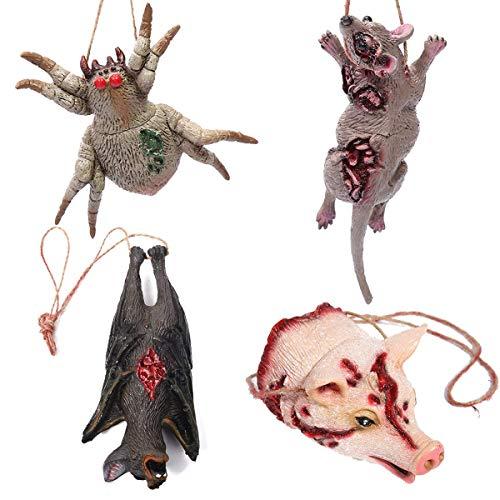 AOFOX Parti del Corpo di Animali rotti Tagliati Falsi di Halloween, Ragno, Maiale, Pipistrello e Topo per Halloween, Festa delle Zombi della casa stregata