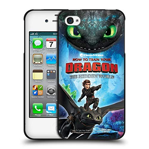 Head Case Designs Ufficiale How To Train Your Dragon Hiccup E Toothless III The Hidden World Cover Nera in Morbido Gel Compatibile con Apple iPhone 4 / iPhone 4S