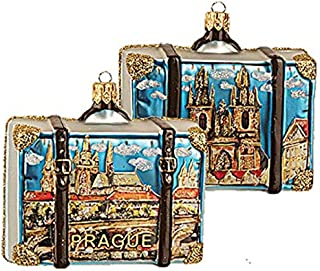 Prague Suitcase Polish Glass Christmas Ornament Travel Souvenir Decoration
