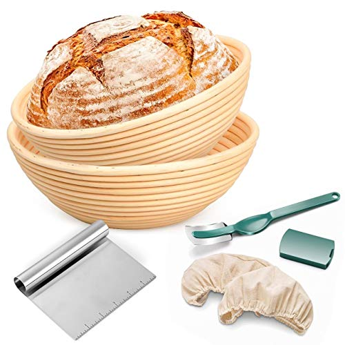 Round Banneton Proofing Basket Set of 2-10' French Style Artisan Sourdough Bread Bakery Basket -9 inch and 10 inch size bread baskets with Bread lame dough scraper and washable linen cloth.