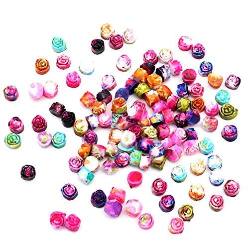 PMSMT 100 Piezas de Resina Mixta Rosa Flor artesanías Decoraciones Flatback cabujón Scrapbooking para Adorno Pegatinas de uñas Accesorios de Bricolaje