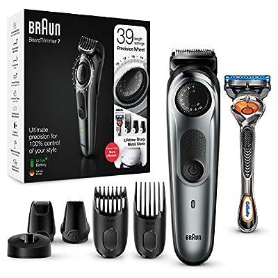 Braun Beard Trimmer BT7240 and Hair Clipper for Men, Lifetime Sharp Metal Blades, 39 Length Settings, Black/Grey Metal, UK Two Pin Bathroom Plug