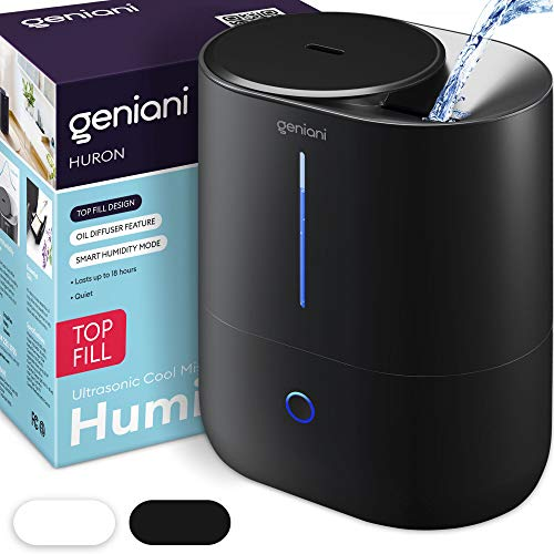 GENIANI Top Fill Cool Mist Humidifiers for Bedroom & Essential Oil Diffuser - Smart Aroma Ultrasonic Humidifier for Home, Baby, Large Room with Auto Shut Off, 4L (Black, 4L)