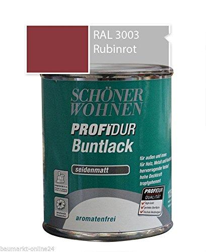 Schöner Wohnen Profidur Buntlack Rubinrot RAL 3003 / 750 ml / seidenmatt / aromatenfrei / für außen u. innen / für Holz, Metall u. Kunststoff