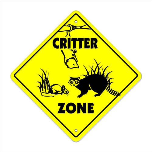 """Critter Crossing Sign Zone Xing   Indoor/Outdoor   12"""" Tall Plastic Sign animals furry rodent small slow"""