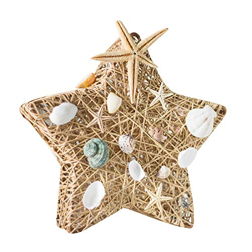 BRAZT Creativa lámpara de Mesa, Forma de Estrella LED Rota lámpara de Escritorio con Shell Ornamento, portátil romántica Noche Ligh, para el niño Dormitorio Principal Regalo,Beige
