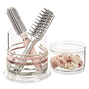 Stackable Clear Plastic Headband and Hairbrush Holder with Accessory Compartment and Lid