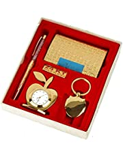 Lavanaya Silver - Gold Plated Gift Set Pen, Visiting Card Holder, Apple Shape Clock and Key Ring (Pack of 4) Gift for Boss,Birthday Gift for Friend, Corporate Gift Set,Diwali Gifts