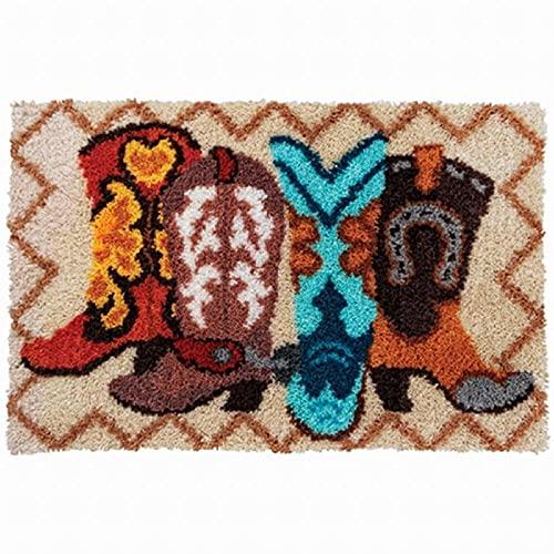 HFDRF Latch Hook Kits Teppichherstellungs-Kits DIY für Kinder/Erwachsene mit bedruckten Leinwandmustern Mongolische Stiefel 52x38cm