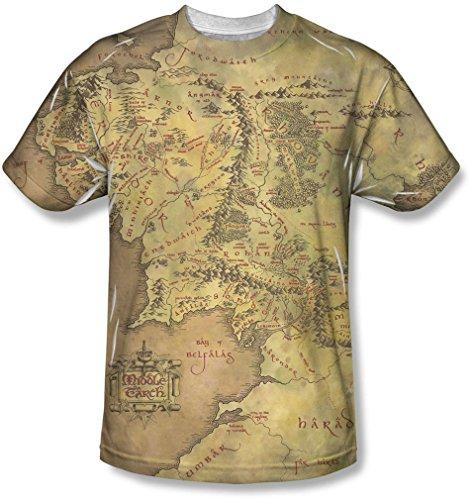 Lord of the Rings - Der Herr der Ringe - Herren Middle Earth Map T-Shirt, Small, White