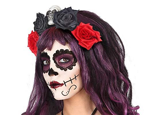 ATOSA diadema halloween calavera rosas negras rojas