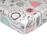Lolli Living Sparrow Crib Sheet (Fitted) Premium 100% Cotton Fabric for Best Comfort | for Infant,Toddler,Newborn,Nursery,Boy,Girl,Unisex,Bedding,Mattress,Skirt,Gift | White Standard Size