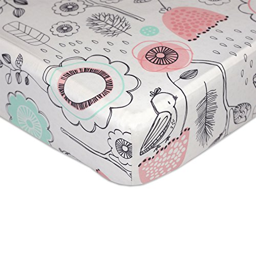 Lolli Living Sparrow Crib Sheet (Fitted) Premium 100% Cotton Fabric for Best Comfort | for Infant,Toddler,Newborn,Nursery,Boy,Girl,Unisex,Bedding,Mattress,Skirt,Gift | White Standard Size