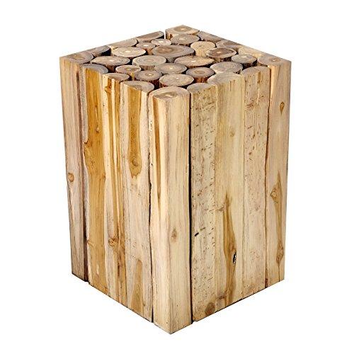 Brillibrum Design Beistelltisch aus Teakholz Rundholz Hocker Teak Baumstämmen massiver Holzhocker ideal als Sitzhocker Blumentisch Wohnzimmer Deko