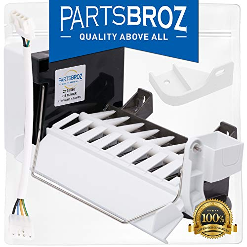 2198597 Ice Maker (8 Cube) with Harness for KitchenAid & Whirlpool Freezers by PartsBroz - Replaces Part Numbers 1016069, 2198678, 626663, AH869316, EA869316, PS869316, W10122502, W10190960