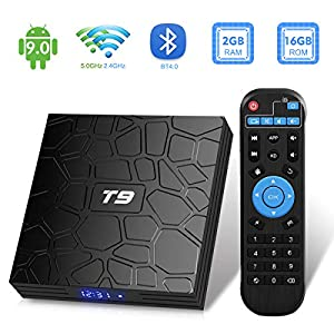 Android TV Box, T9 Android 9.0 TV Box 2GB RAM / 16GB ROM RK3318 Quad-Core Support 2.4 / 5Ghz WiFi BT4.0 4K 3D HDMI DLNA Smart TV Box