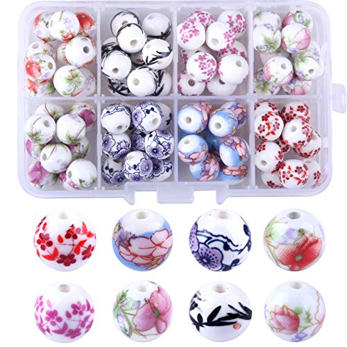 Candygirl 80pcs Ceremic Beads for Jewelry Making Kit Natural Beads for Adult Kids Jewellery Making Supplies Porcelain Beads Set for DIY Crafts(8 Colors)