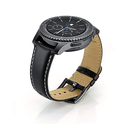 SUNDAREE Kompatibel mit Galaxy watch 46MM/Gear S3 Frontier/Classic Armband,22MM Echt Lederarmband Ersatzarmbänder Armband Uhrenarmband für Samsung Galaxy watch 46/Gear S3 Frontier/Classic(S3 Black)