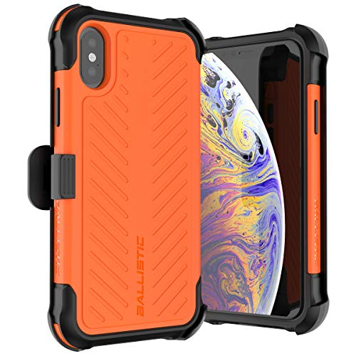 Ballistic iPhone Xs Case, Military Grade Drop Tested Protective Holster Case with Screen Protector and Kickstand for Apple iPhone Xs/X, 5.8 Inch, [Tough Jacket Max Series] Orange