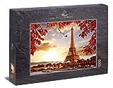 Ulmer Puzzleschmiede - Puzzle Otoño en París - Puzzle de 1000 Piezas - Torre Eiffel en París detrás del Sena y Hojas otoñales