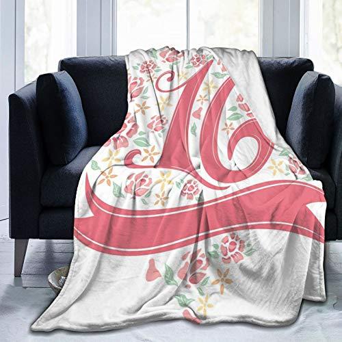 Manta mullida, diseño floral dulce de dieciséis tipohraphy con imagen de pétalos de rosa primaveral, ultra suave, manta para bebé, cama, cama, TV, manta de 152 x 127 cm