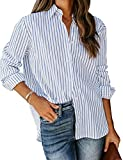 LookbookStore Women's Casual Button Down Striped Shirt Long Sleeve Loose Blouse Tops Blue Size XX-Large