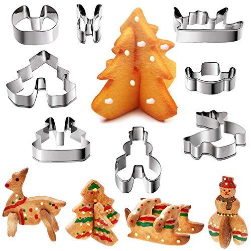 Formine Biscotti Natalizie in 3D, KNMY Formine Biscotti in Acciaio Inox, Pupazzo di Neve, Albero di Natale, Alce, Slitta (8 PCS)