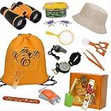 HGYYIO 19 Piezas Kit Juguetes Exploración, Outdoor Explorer Kit, Traiga Linterna, binoculares, brújula, Lupa, niños Aventura Juguetes Educativos