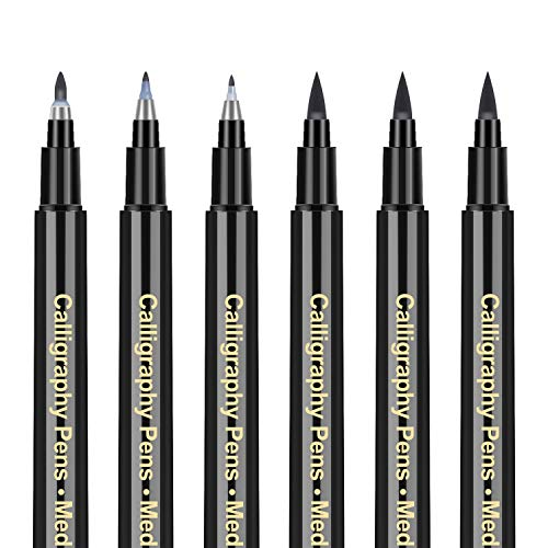Hand Lettering Pens Art Marker - 6 Pack Modern Calligraphy Brush Pens Journaling Set, Caligraphy Kits for Beginners, adults, Writing, Journaling, Illustrations, Drawings, Signature, Artist Sketch
