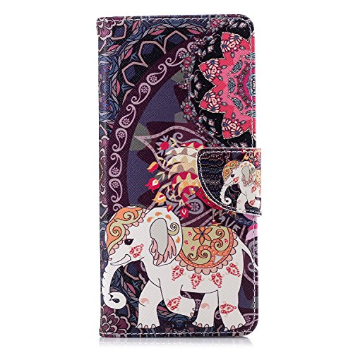 Samsung Galaxy A42 Handyhülle Stoßfest Flip Wallet Hülle für Samsung Galaxy A42 mit Magnetständer Kartenhalter Tasche Folio Weiche TPU Bumper Schutzhülle Leder Cover Totem Elefant