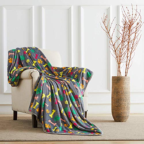 ALLISANDRO Flauschige Hundedecke [160x100cm Grau] Katzen Decke mit super Soft weiche Flauschige Haustier-Decke, Überwurf für Hundebett Sofa und Couch