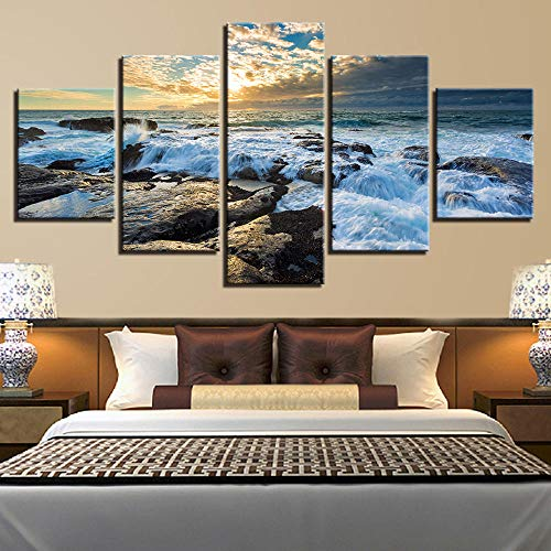 Modular Canvas Pictures 5 Pieces Tree and River Red Sky Sunrise Natural Scenery Painting Hd Print Decor Wall Art Bedroom-with Frame