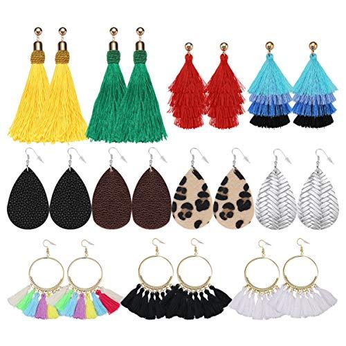 SUPVOX 11 Paar Ohrringe Ohrhänger Quaste Fransen Ohrringe Bohemian Ohrstecker Anhänger für Frauen Damen Mädchen