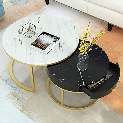 Jianghuayunchuanri Couchtische Nachttisch Set Einfacher Marmor Couchtisch Wohnzimmer Heimcouchtisch Schublade Kombi für Wohnzimmer Modern Nest (Farbe : C, Size : 80x45+60x40)