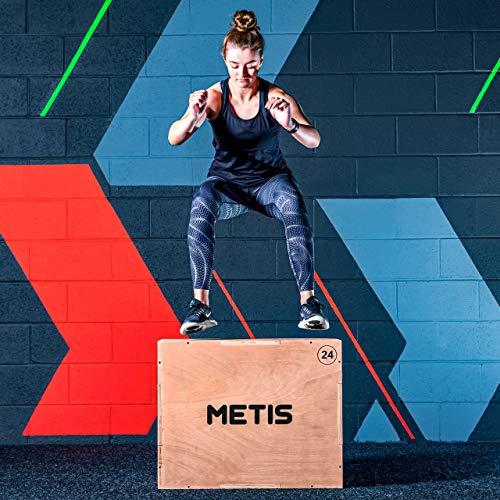 METIS Cajón Pliométrico 3-en-1 – Jump Box | Entrenamiento de Fuerza| Ejercicio al Interior | Caja de Madera de (51cm 61cm 76cm) Plyo Box
