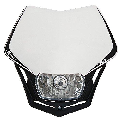 Scheinwerfer Motorrad Lampenmaske V-Face schwarz/weiß universal 35/35W + Standlicht R-MASKBNNR008