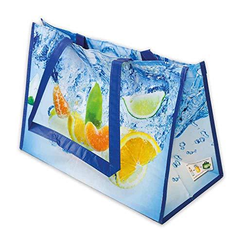 Wertpack 50x Permanent-Tragetaschen ¿Früchte, Einkaufstaschen, rPET, 500 + 250 x 350 mm