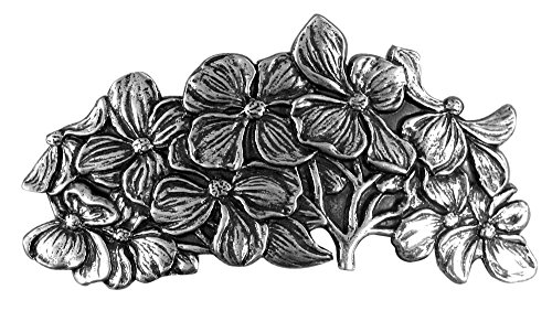 Dogwood Hair Clip, Large Hand Crafted Metal Barrette Made in the USA with an 80mm Imported French Clip by Oberon Design