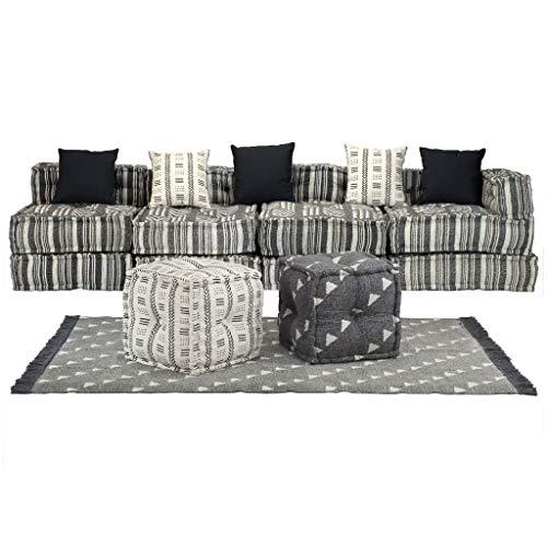 FAMIROSA Conjunto de sofá Modular 16 Piezas Tela de Rayas