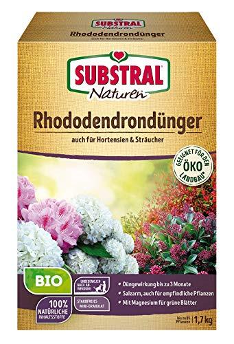 Substral Naturen Bio Rhododendron Dünger für Rhododendren und Hortensien, Nadelgehölze und Sträucher, wirkt bis zu 12 Wochen, 1,7 kg