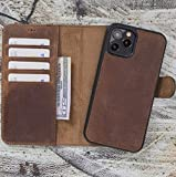 Custom Case for iPhone 12/12 Pro / 12 Mini/Pro MAX Wallet Case for Man or Women Genuine Leather Magnetic Detachable, Handmade Flip Case