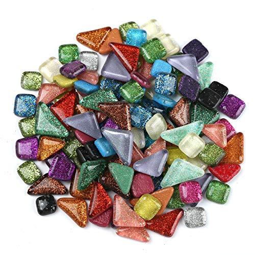 Kesote 200g Mosaico Pietra di Multicolore Mosaico a Forme Assortite Glitter Mosaico per la Decorazione di Casa o Creazione di Fai-da-Te