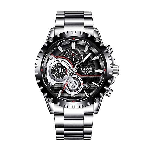 Relojes para Hombres,LIGE Hombres Acero Inoxidable Resistente al Agua Deportes Reloj De Cuarzo Analógico Cronógrafo Fecha Negocios Casual Relojes de Pulsera Negro