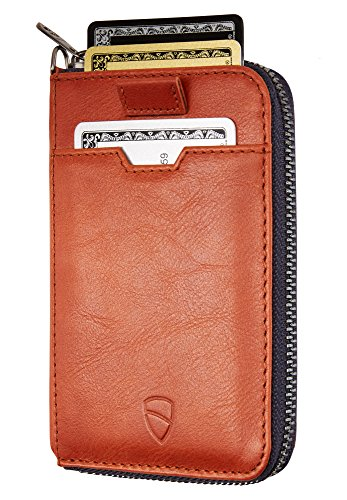 Vaultskin Notting Hill schlanke Brieftasche mit Reißverschluss und RFID Schutz. Geldbörse für Kreditkarten Bargeld Münzen (Cognac)