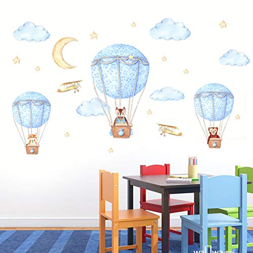 Etiqueta engomada de la pared del patrón del globo del aire caliente animalPegatinas de papel tapiz de PVC respetuosas con el medio ambiente, decoración de paisaje extraíble autoadhesiva