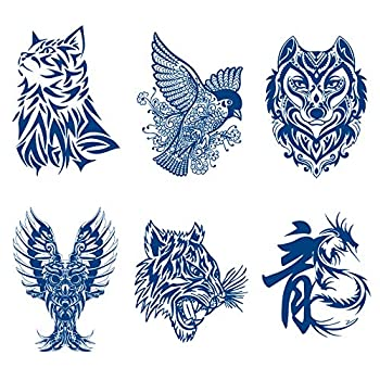 Oottati 6 Sheets Semi Permanent Tattoos Stickers Long Lasts 1-2 Weeks Temporary Tattoo Animal Totem Cat Bird Wolf Owl Tiger Dragon Realistic Appearance and Natural Fading