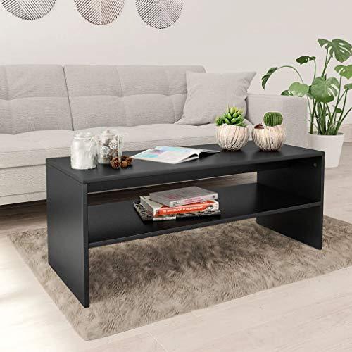 vidaXL Tavolino da caffè Robusto Elegante Moderno con Ripiano Inferiore Salvaspazio Tavolo Basso da Salotto Nero 100x40x40 cm in Truciolato
